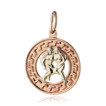 Подвеска из золота, знак зодиака Близнецы
