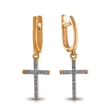 Серьги Крестики из золота с бриллиантами