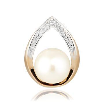 Подвеска с бриллиантами и белым жемчугом из золота