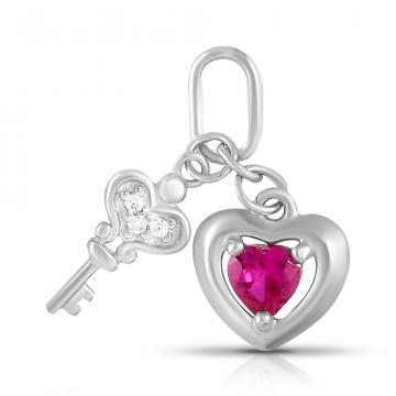 Подвеска SOKOLOV Сердце и ключ из серебра с фианитами