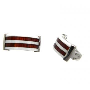 Серьги из серебра с красным деревом и керамикой