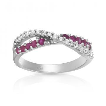 Кольцо из серебра с рубинами и фианитами