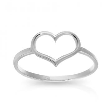 Кольцо Сердце из серебра
