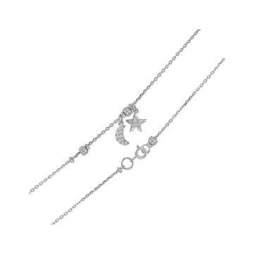 Браслет на ногу (анклет) TALANT Звезда и месяц из серебра с фианитами