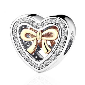 Подвеска-шарм Сердце с фианитами из золота и серебра, коллекция АНДОРА