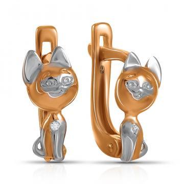 Серьги детские Кошечка из серебра с фианитами