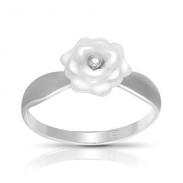 Кольцо Цветок из серебра с керамикой и фианитом
