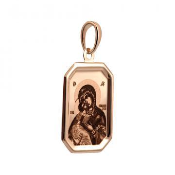 Подвеска-икона Владимирской Божией Матери из золота