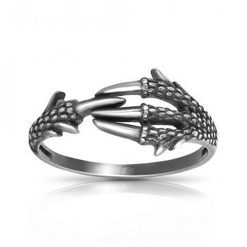 Кольцо лапа Дракона из серебра