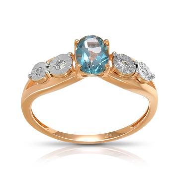Кольцо из золота с топазом и бриллиантом