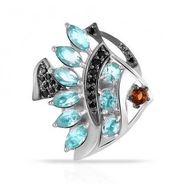 Брошь Рыбка из серебра с ювелирными кристаллами и фианитами