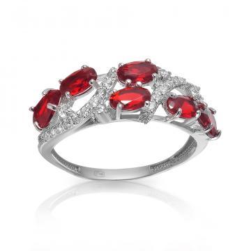 Кольцо из серебра с рубином и фианитами