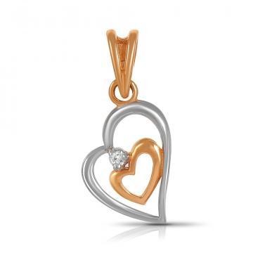 Подвеска TALANT Сердце из золота с бриллиантом