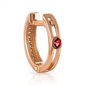 Серьга из золота с рубином и бриллиантами, коллекция Queen