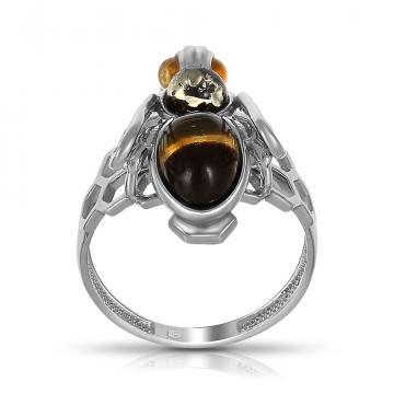 Кольцо Пчела из серебра с эмалью и янтарем