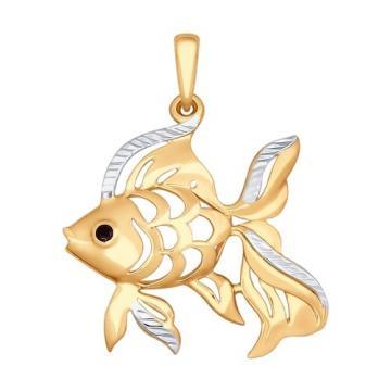 Подвеска SOKOLOV Рыба из золота с фианитом