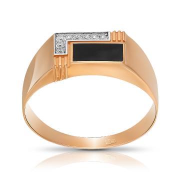 Кольцо-печатка из золота с эмалью и фианитами