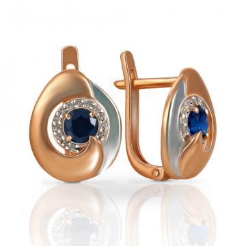 Серьги из золота с сапфирами и бриллиантами
