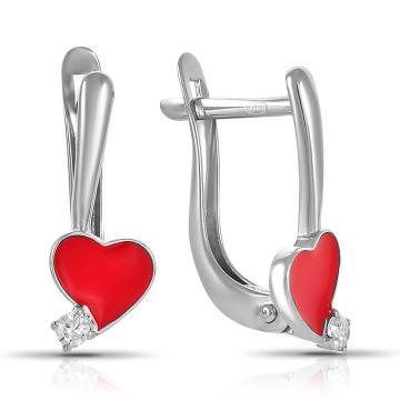 Серьги TALANT Сердце из серебра с эмалью и фианитами