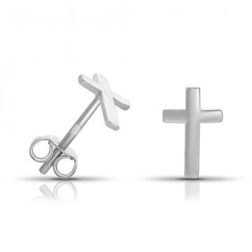 Серьги-пусеты TALANT Крест из серебра